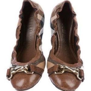 Burberry Shipley Check Canvas Flat Ballet Shoes